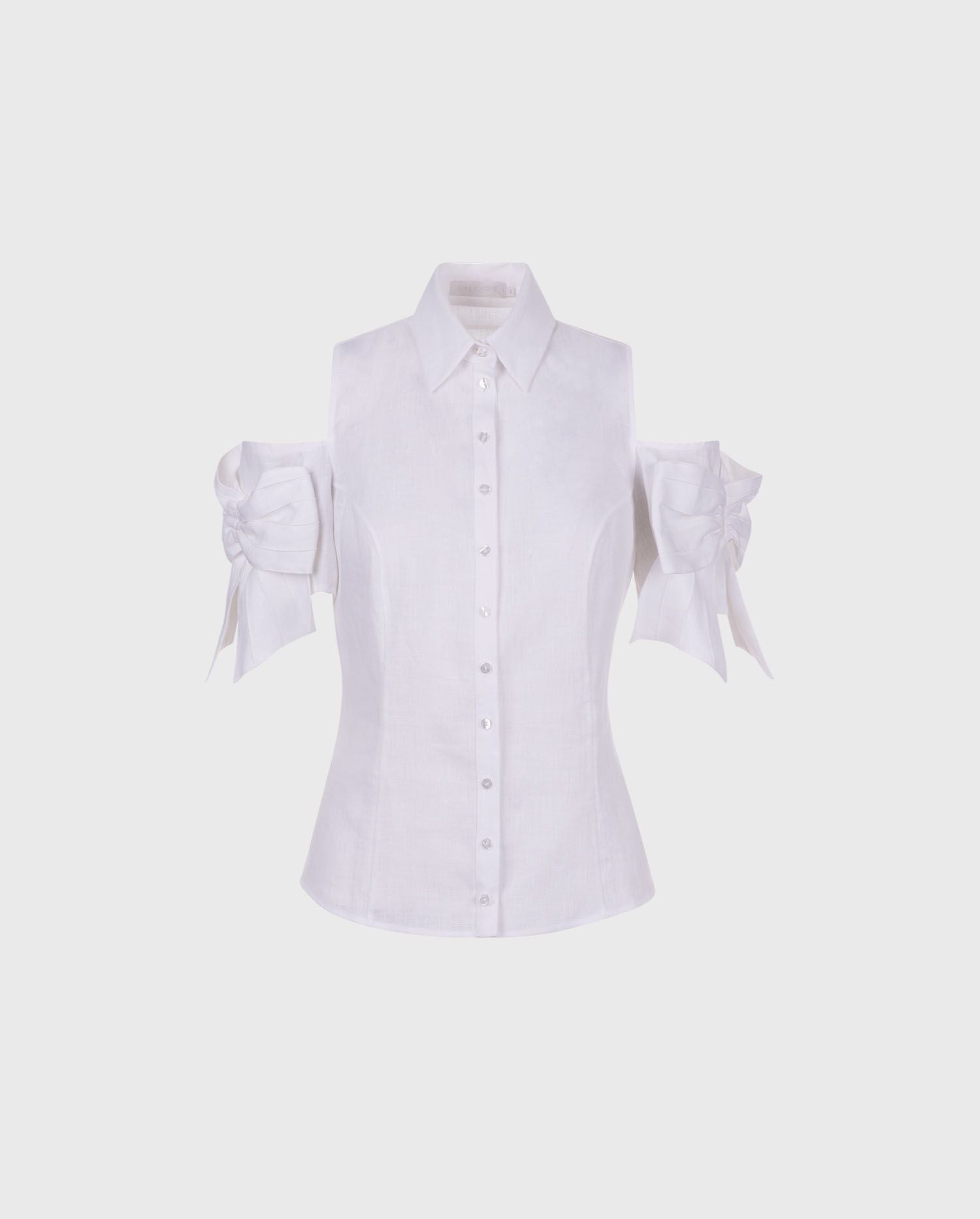 Anne Fontaine CALLA Shirt: White linen shirt with placed bows
