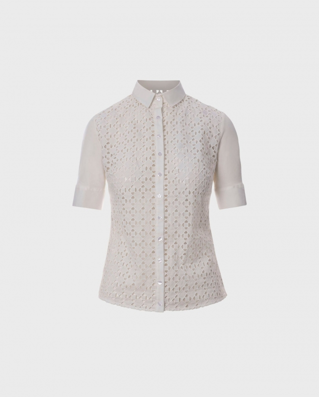 Designer Anne Fontaine's Parisian staple, CIRIUS is wardrobe must-have featuring a broderie anglaise design in short sleeves