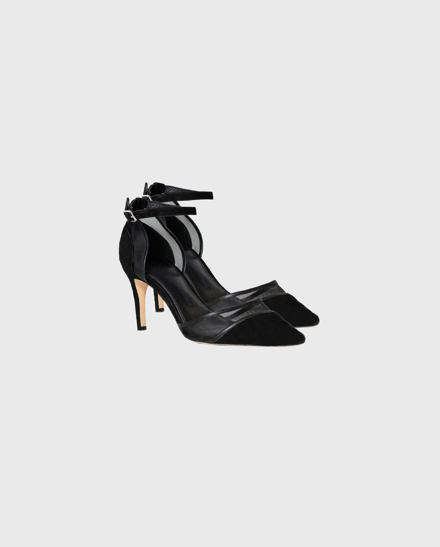 Stride into a look of effortless chic with the suede and mesh black GISELLA-ORSAY heels
