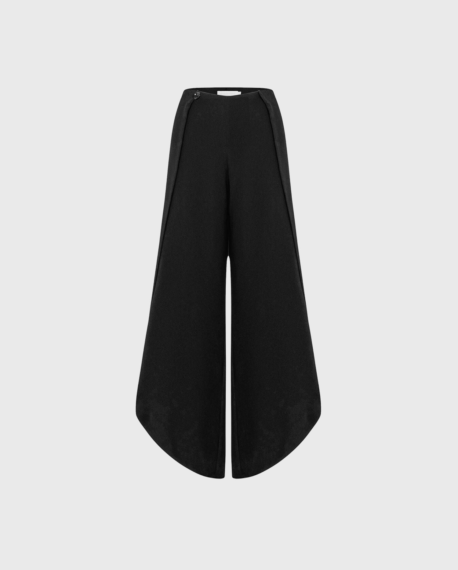 Explore a look of sensuality with the MYLIANE black tulip statment trousers
