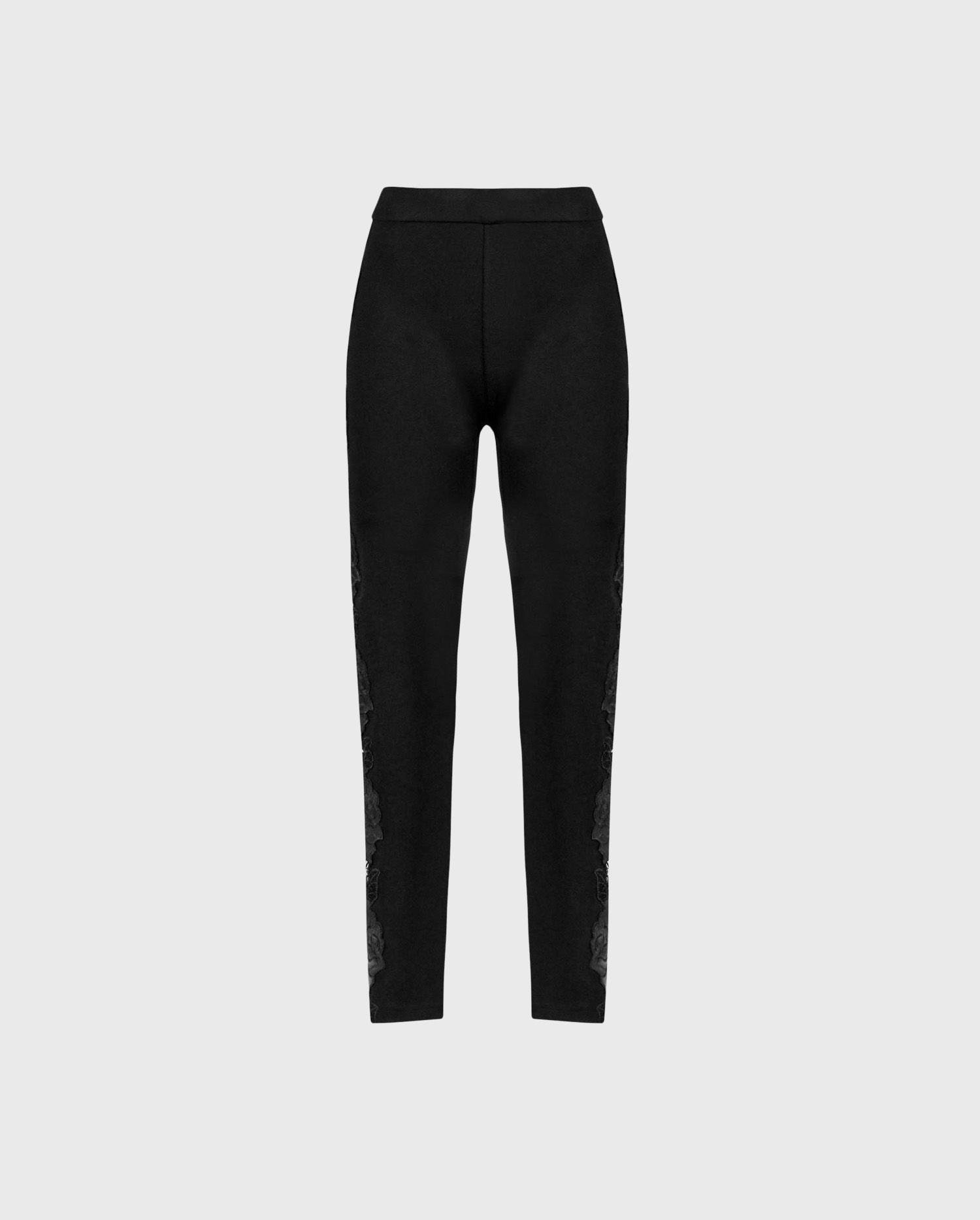 Anne Fontaine: Vonya: Full-length leggings with vertical rose appliques